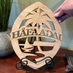 """13.5"""" Hafa Adai Guam Seal Motif Bamboo Wood Decor"""