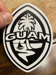 "5"" Black and White Modern Guam Seal Dope Decal"