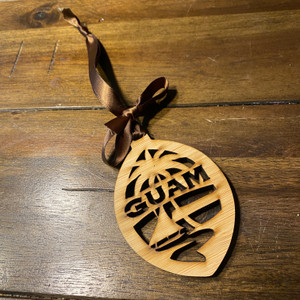 Wooden Guam Seal Car Christmas Ornament
