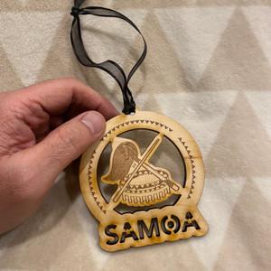 Samoan Christmas Tree Holiday Wood Ornament - 4 inches