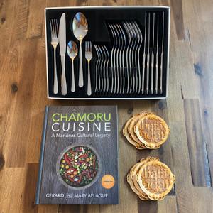 37-pc CHAMORU CUISINE Cookbook, Cutlery, and Coasters Gift Set