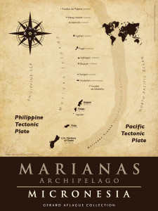 The 14 islands in the Marianas Archipelago are show in this fine-art illustration.