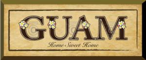 Gift Plaque - Home Sweet Home - GUAM - Plumeria