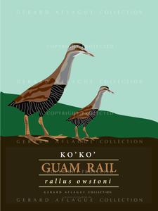 Guam Rail Poster Illustration - 18 x 24 inches
