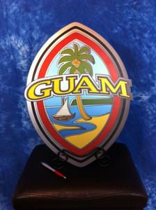 Modern Guam Seal Fine-Art Decor w/Wrought Iron Stand