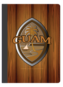 This i-Pad cover is of the Modern Guam Seal in brown, with a wood-grain motif. (This is faux wood-grain image is printed).