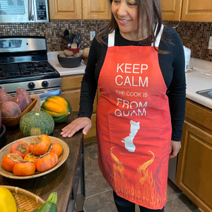 Keep Calm Guam Polyester/Cotton Full-Size Apron
