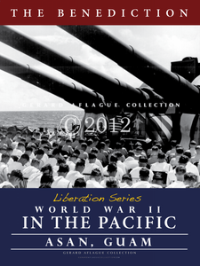 This poster called The Benediction is part of a five liberation series poster set. It can be purchased alone or would make a wonderful series to display together to tell the story of the war in the Pacific and how it affected the Mariana Islands of Guam and the CNMI. This image captures U.S. soldiers on a war ship along the coast of Guam praying for the soldiers who died in this war during a benediction.