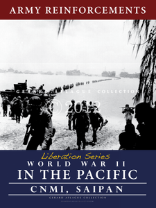 This poster called Army Reinforcements is part of a five liberation series poster set. It can be purchased alone or would make a wonderful series to display together to tell the story of the war in the Pacific and how it affected the Mariana Islands of Guam and the CNMI. This image captures Army soldiers making their way onto Saipan to provide reinforcements to troops already staging on the island.