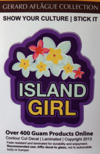 "Island Girl Decal Sticker - 3.5"" h x 3.5"" w - Contour Cut"