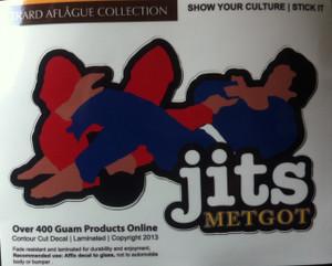 "Jits (Metgot) Armbar Decal Sticker - 4"" h x 7"" w - Contour Cut"