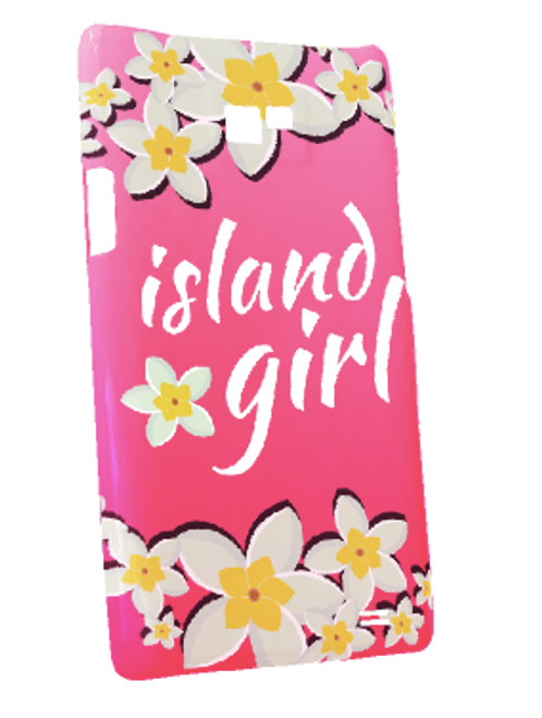 Samsung Galaxy S2 Snap-On Case w/Pink Island Girl Motif - Left View