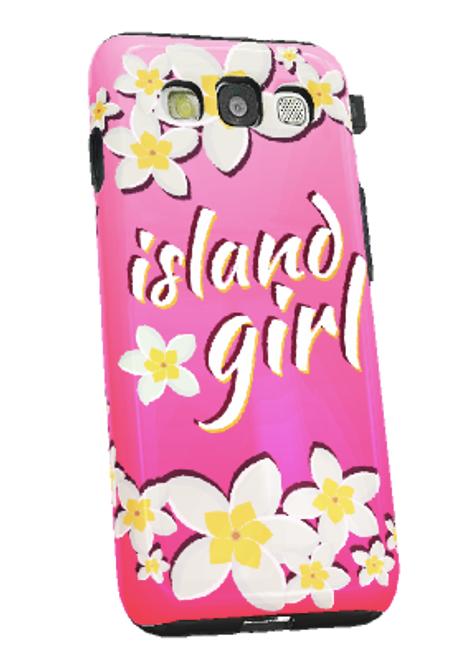 Samsung Galaxy S3 Tough Case w/Pink Island Girl Motif - Left View
