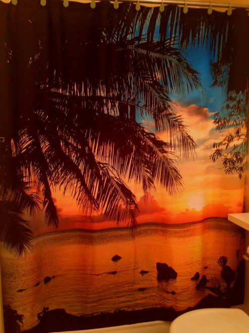 Tropical Palm Sunset Shower Curtain - 69x70 Inches