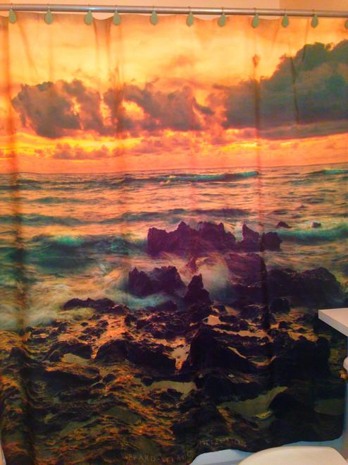 Rocky Shoreline Tropical Sunrise Shower Curtain - 69x70 Inches