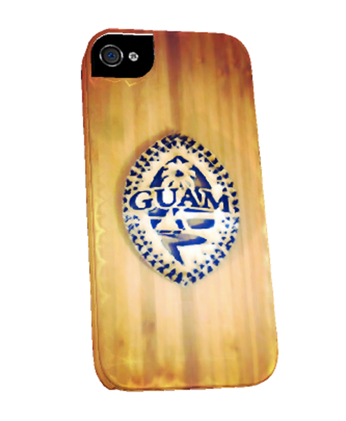Wood Tribal Guam Seal Motif on iPhone Cover