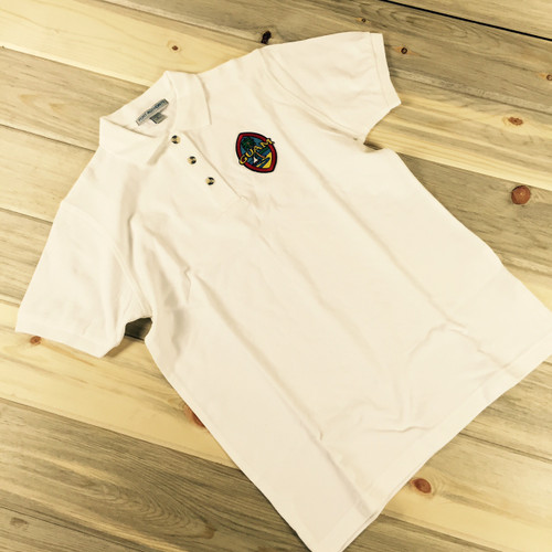 Ladies Embroidered Modern Guam Seal Pique Knit White Polo