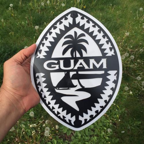 BlackWhite Tribal Guam Seal Steel Wall Art - Front