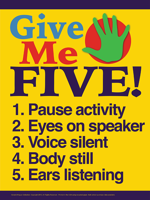 Give Me Five Elementary Classroom Management Poster