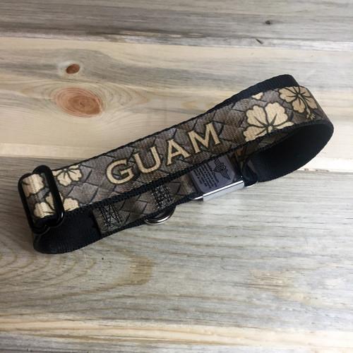 Guam Coconut Weave Hibiscus Pattern Dog Collar