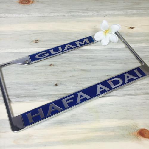 Ocean Blue Hafa Adai Guam Chrome License Plate Frame