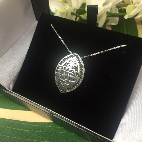 Sterling Silver Weaved Guam Seal Pendant and Box Chain