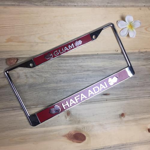 Breadfruit Leaves Red Hafa Adai Guam Chrome License Plate Frame