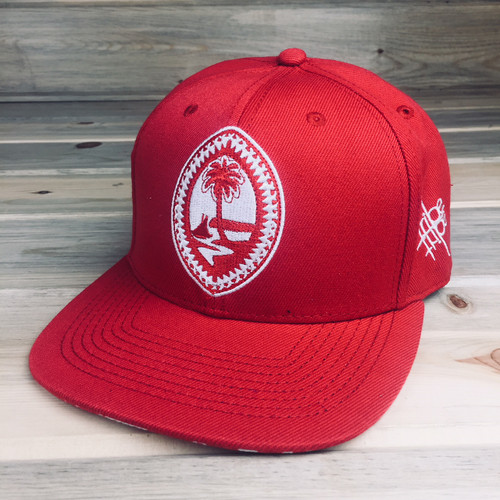 Pika Red Embroidered White Tribal Guam Motif Snap Back Hat
