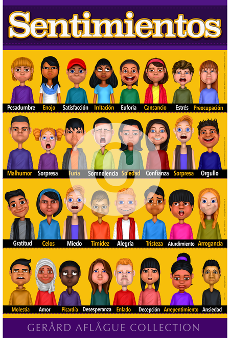 Feelings or Emotions Poster in Spanish - 18x24
