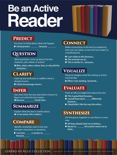 Be an Active Reader (Reader Strategies) - 18x24 Inches [English, language arts, reading]