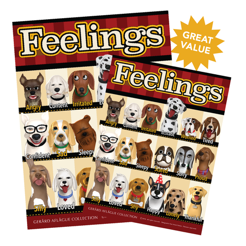 2 pk - Feelings and Emotions Poster Set (Dogs) - 18x24 Inches