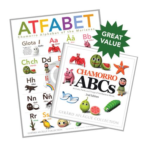2-pc Educational Chamorro ABCs ATFABET (Guam/CNMI) Alphabet Poster and Book Gift Set