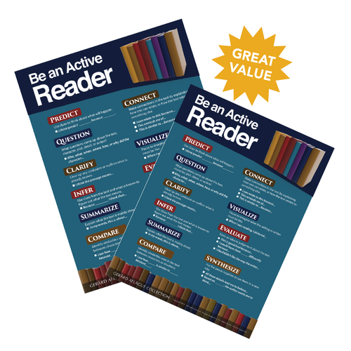 2-pc Be an Active Reader Poster Set (Reader Strategies) - 18x24 Inches [English, language arts, reading]