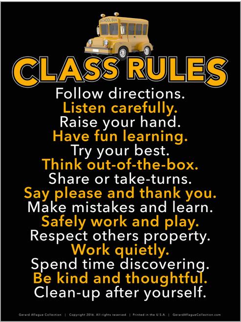 High Quality Print - Class Rules Poster  - 18x24