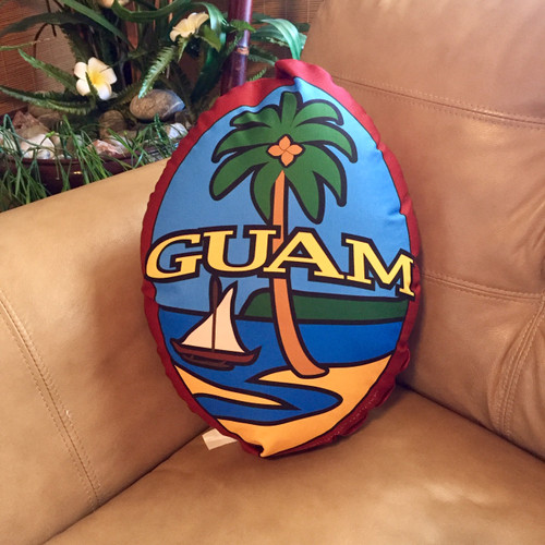 """Double Sided Contoured Modern Guam Seal Pillow - 16"""" Tall"""