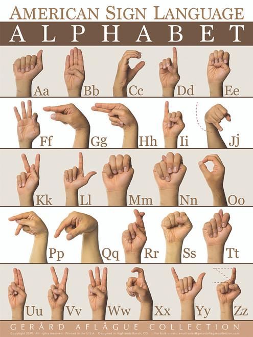 2019 American Sign Language (ASL) Alphabet (ABC) Poster