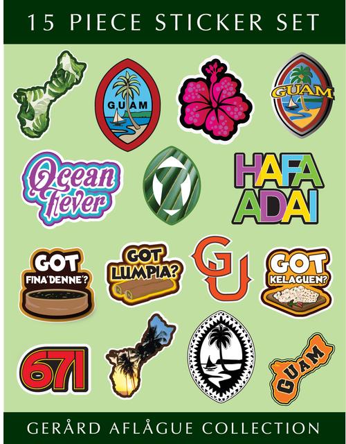 8.5x11 Inch - 15 pc Guam Sticker Set