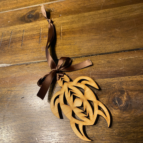 Wooden Tribal Turtle Christmas Ornament