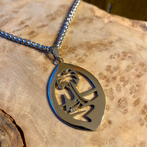 Stainless Steel Modern Guam Seal Pendant and Braid Necklace