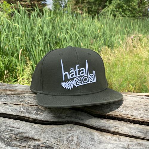 Limited: Hafa Adai Palm Olive Snapback Hat - Guam/CNMI