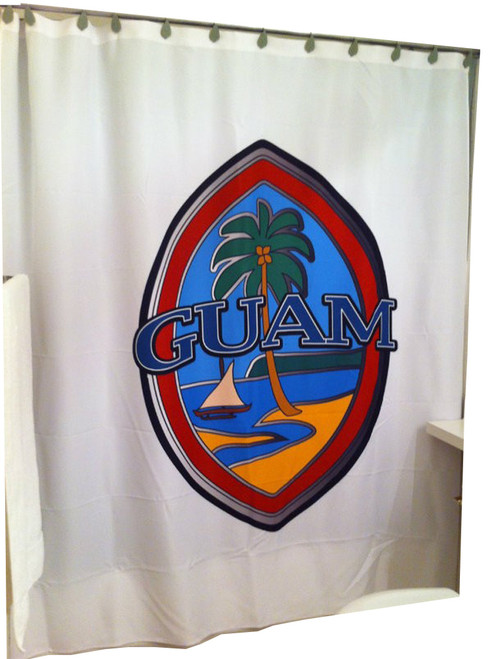 Modern Guam Seal Shower Curtain with White Background