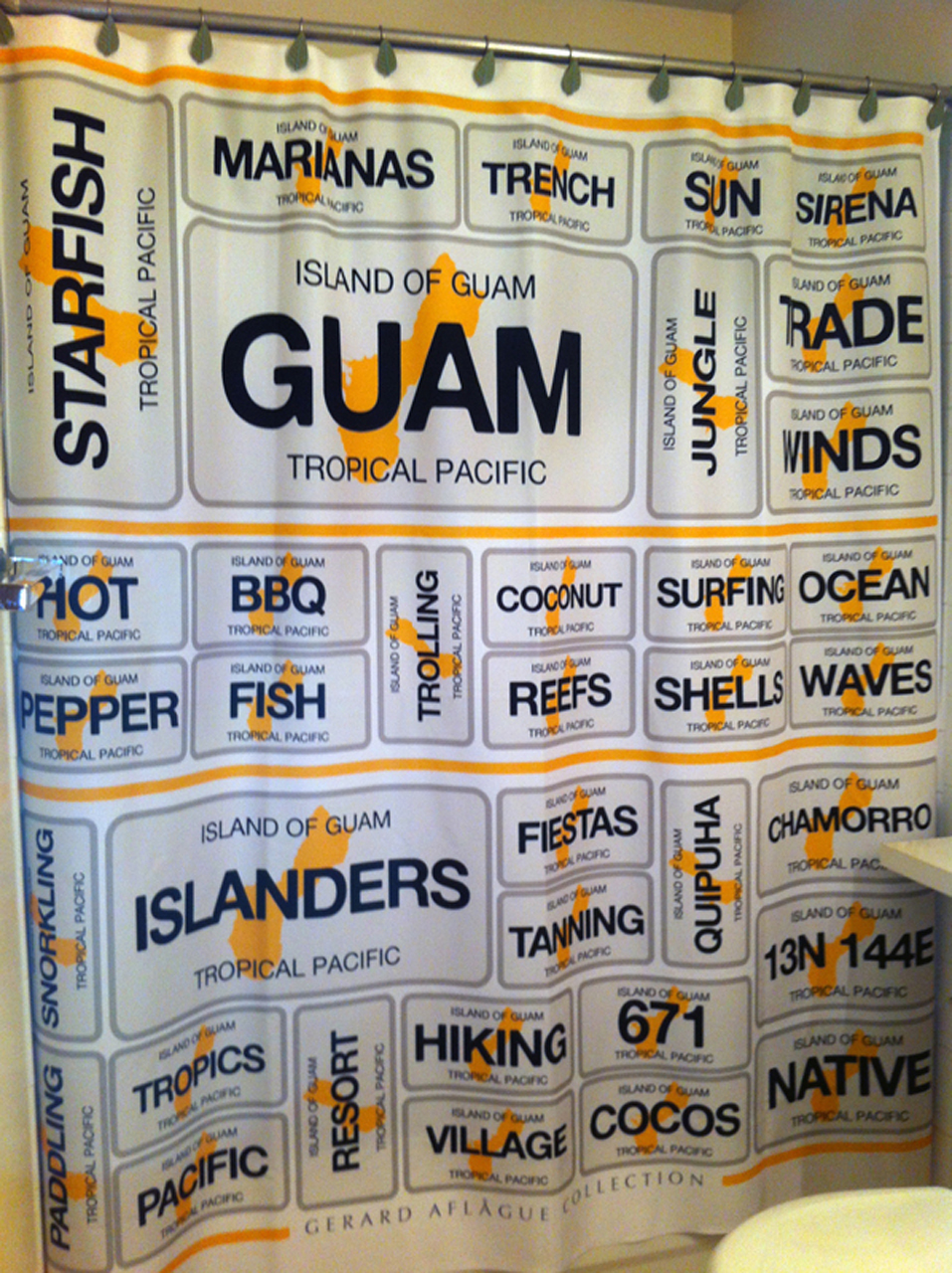 Guam Centric Words Design On Shower Curtain