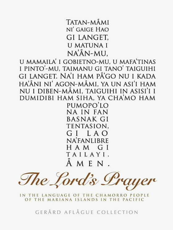 The Lord S Prayer In Chamorro In White Fine Art Poster