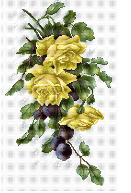 Yellow Roses with Plums - Luca S Counted Cross Stitch Kit