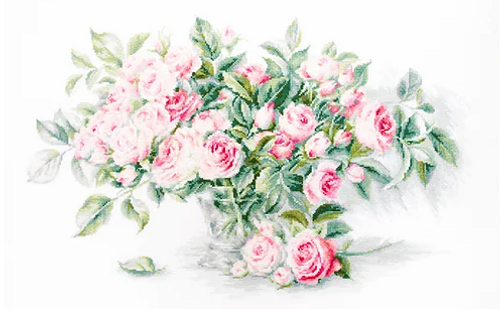 Bouquet of Pink Roses - Luca S Counted Cross Stitch Kit