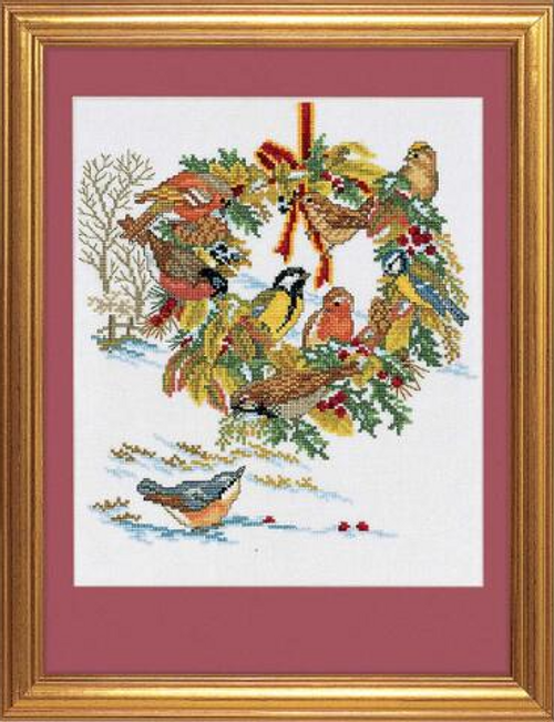 Bird Wreath Eva Rosentand Counted Cross Stitch Kit