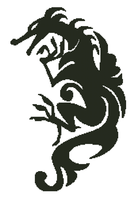Dragon Silhouette - Fox Trails Needlework Counted Cross Stitch Pattern - Paper Copy Shipped