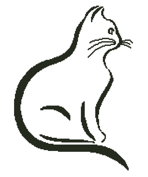 Cat Outline Silhouette Counted Cross Stitch Pattern