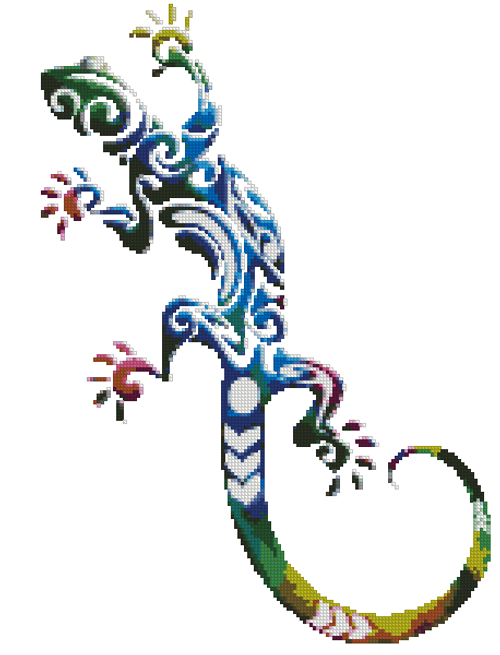 Boho Watercolor Lizard Counted Cross Stitch Pattern