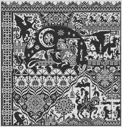 The Templar Prophecy Long Dog Sampler Counted Cross Stitch Pattern